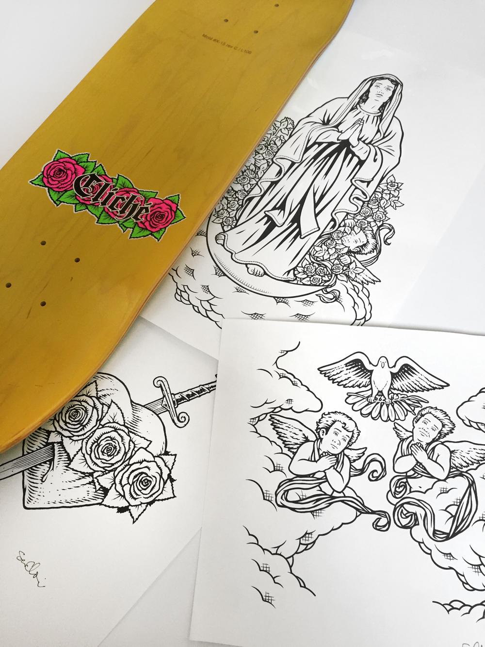 cliche skateboards virgin mary 101 jesus tribute art by sean cliver