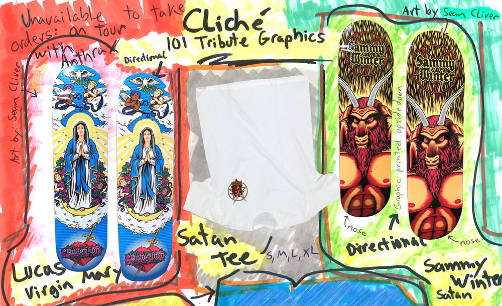 Cliche skateboards 101 tribute graphics lucas puig virgin mary sammy winter satan deck and tee by sean cliver