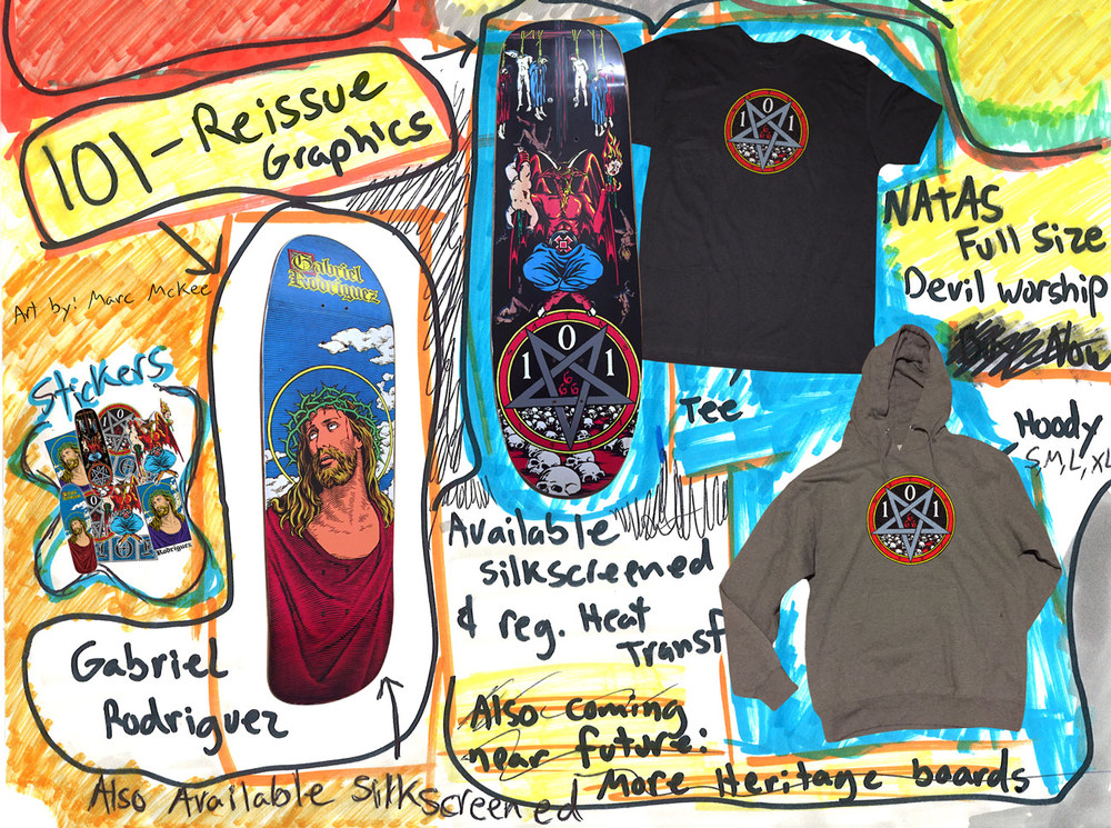 Dwindle distribution Heritage 101 skateboards reissues gabriel rodriguez jesus natas kaupas devil worship by marc mckee