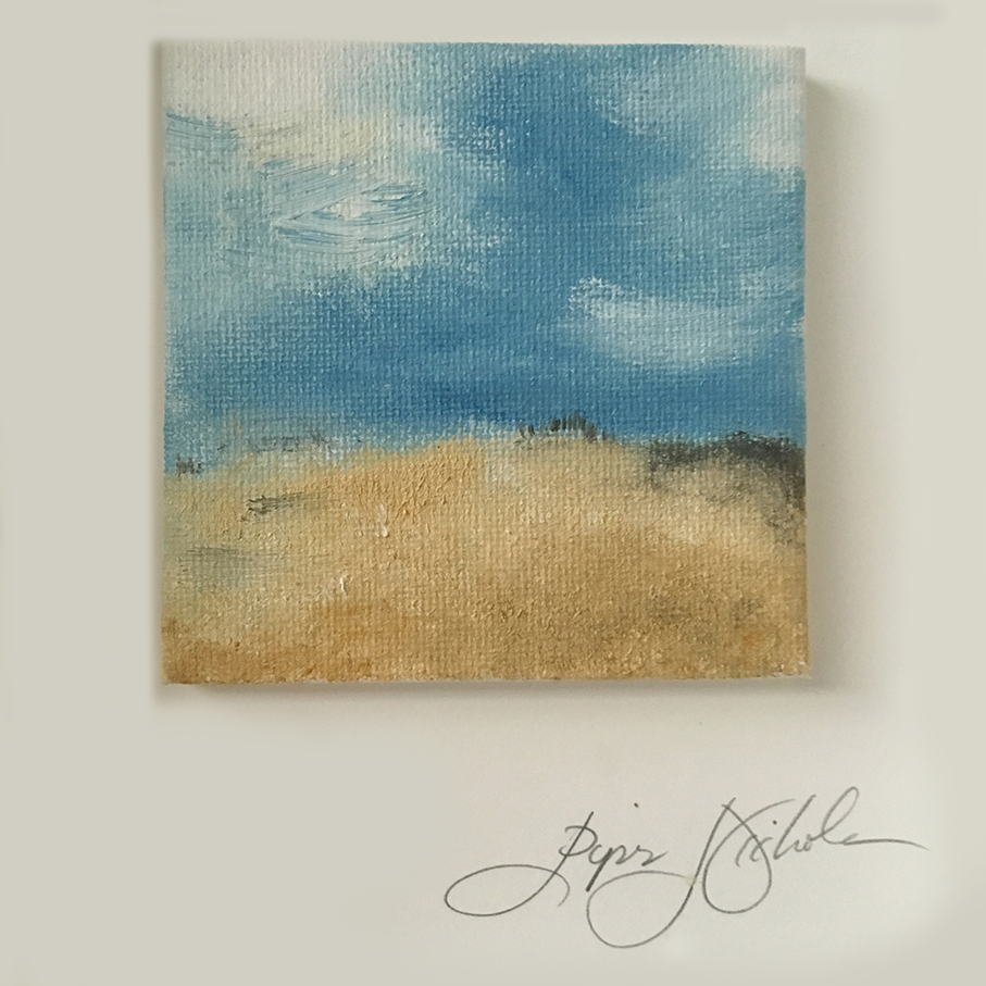 The Beach.  Piper Nichole Oil on canvas. 3x3 / 5x7 in shadow box white frame with white matte.