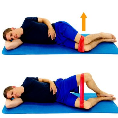 Clam exercise: make sure your hips/lower back don't roll backwards