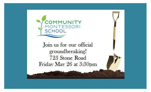 Come help us celebrate our move to the Stone Road Campus. Our Crestwood Drive location has been sold and we are thrilled to break ground on the Stone Road Campus for our 5000 square foot addition and renovation of the Homestead. For the 2017-2018 school year all of our programs, Toddlers through 8th Grade, will call our Stone Road Campus home!