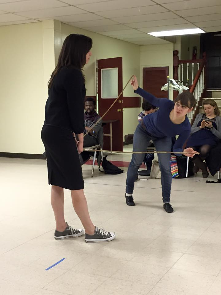 Playing with sticks in rehearsal for Merchant of Venice