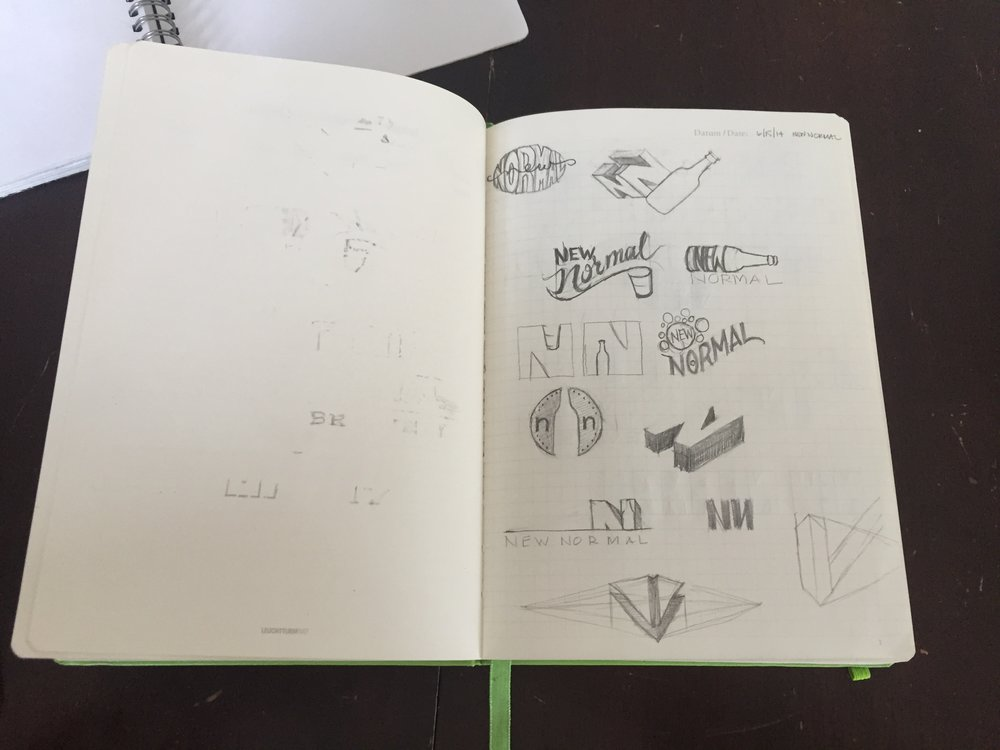 New Normal Brewing logo sketches