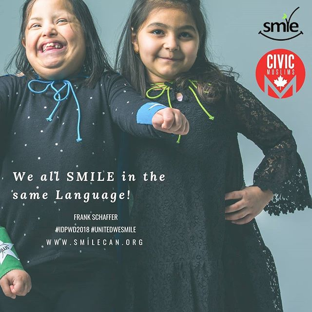 Happy International Day of Persons with Disabilities!  We all SMILE in the same language! 😁  What can we do to create a world that respects human rights and dignity, equality and non-discrimination? • Increase the awareness and knowledge • Assume less and ask more • Focus on ability  #leavenoonebehind #civicmuslims#unitedweSMILE #IDPWD2018 #internationaldayofpersonswithdisabilities #dogood @civicmuslims @smilecanada