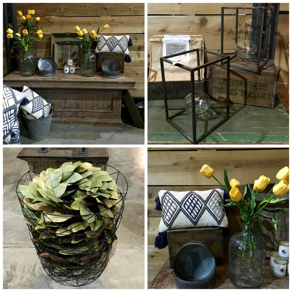 """Lots of """"signature"""" Joanna accessories, the recycled glass jars and the Magnolia Wreaths in particular."""