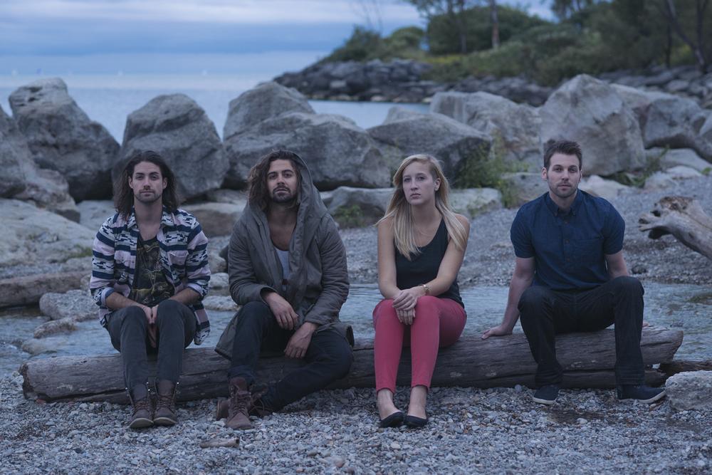 L-R: Dante Berardi Jr. (guitar, synth), Nate Daniels (lead vocals, guitar),Caitlin Grieve (violin), Matt Sullivan (drums)