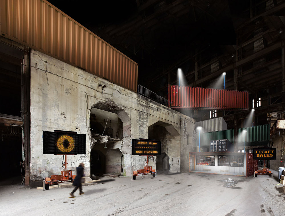 Rendering of the front lobby of the Hearn at Luminato Festival. Courtesy of PARTISANS and Norm Li.