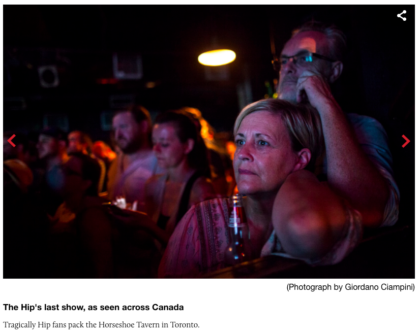 Me 'n the missus at the Shoe show, Macleans ran this on their website. as part of a feature on the Hip's final show.
