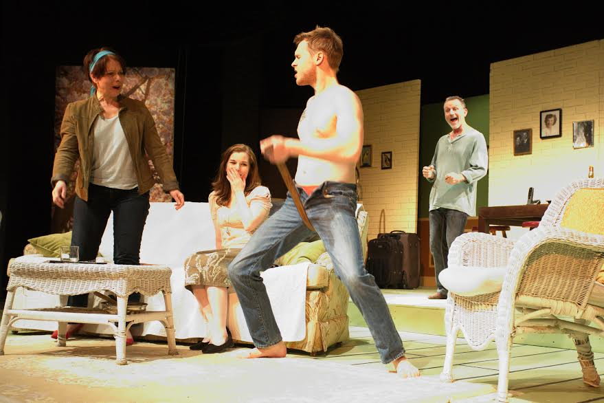 L-R:  Joanne Norman (Masha),  Justine Dickie (Nina, seated), Colin Murphy (Vanya, background),  Kyle Dickie (Spike, foreground) - Photo by Colin Murphy