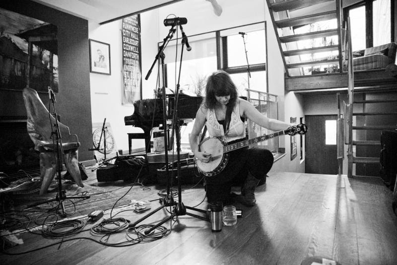 Lisa LeBlanc tunes her banjo for The Strombo Show in Toronto.   Photo credit Vanessa Heins.