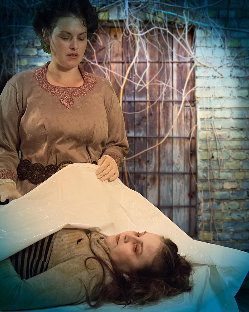 Jacqueline Barrow as Van Helsingand Elizabeth Moody (on table) as Vixen - photo by Wayne Bonner