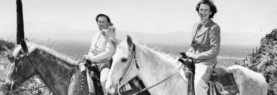 Isabelle McLaughlin and Alexandra Luke on horseback outside Tuscan, Arizona
