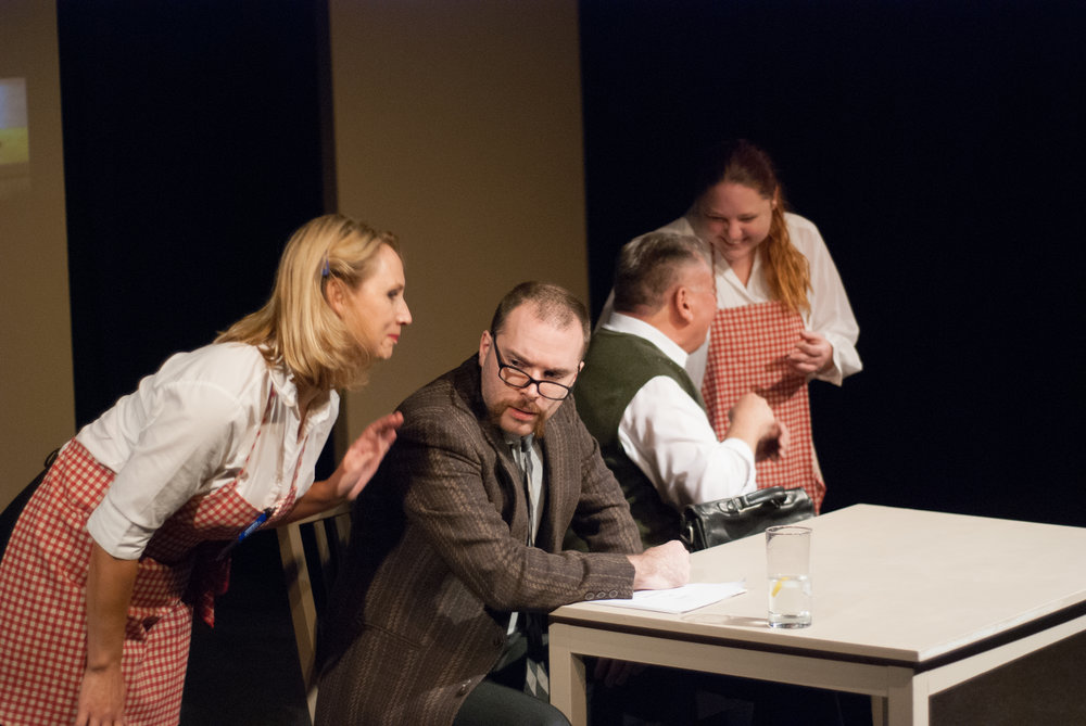 From l-r -Sheri Pereira as a Waitress, Jesse Korneiew as Arthur Miller, Tim Westhead as Willy and Samantha Hubbs as a Waitress in 'Accidental Death of a Salesman' by Nick Mitchell as part of IN (ROLES WE) PLAY. Photo by Phil Ireland.