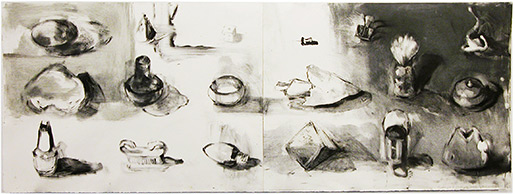 "Jane LowBeer,  Inventory #1 , 2010, monotype, 17"" x 52"""
