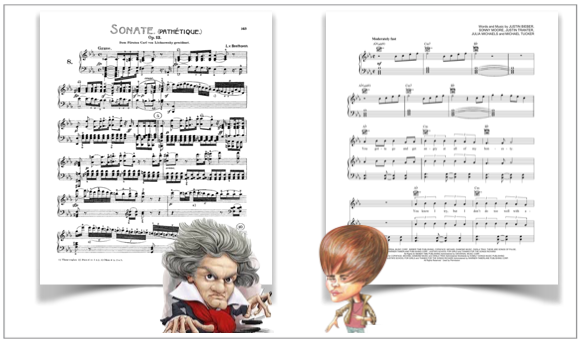 ...what do these two geniuses have in common? their musical notation, that's what!