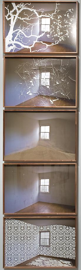 Untitled (5 pieces, as installed at Hammer Museum), 2009 / Epson Ultrachrome Print scratched with razor, dirt / Each image 24 x 36 inches Private Collections