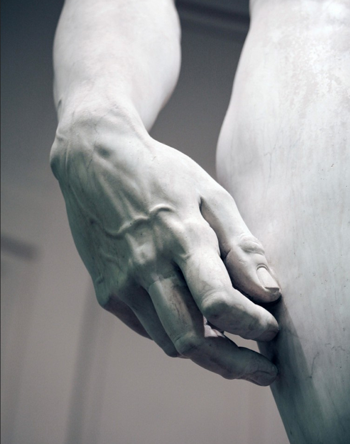 Detail from  David  by Michelangelo