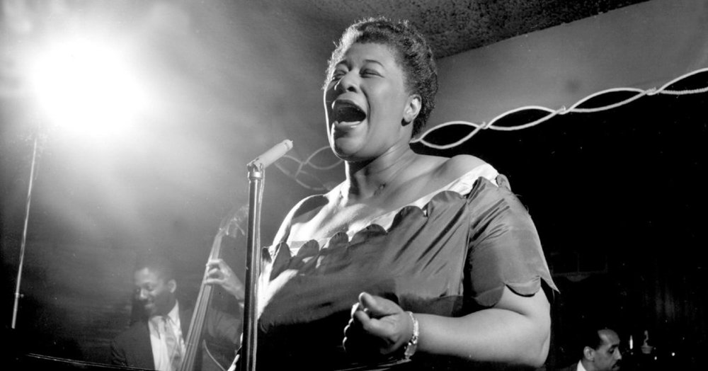 Ella Fitzgerald singing at the Basin Street. Credit: Larry C. Morris/The New York Times