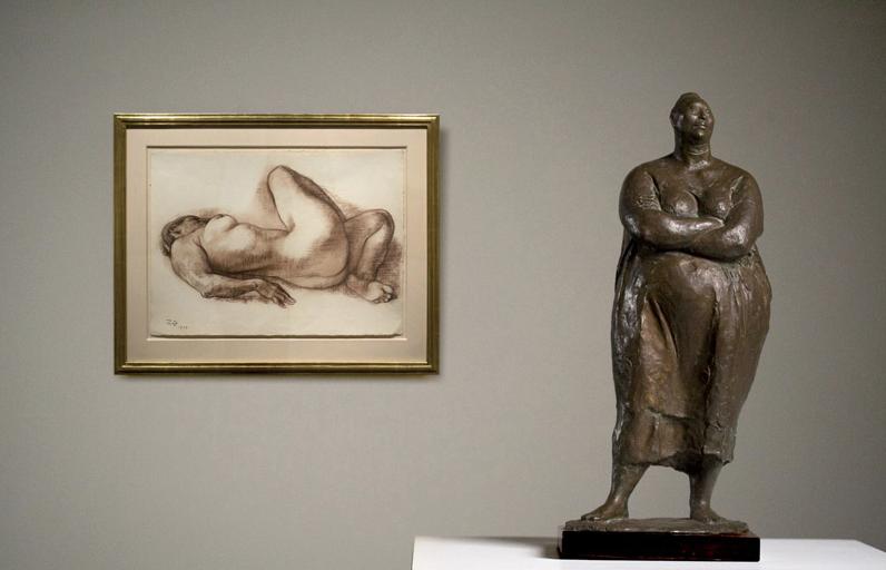 "MUJER DE PIE (STANDING WOMAN), 1970 Bronze 18 3/4"" x 7 7/8 x 6 1/2""  DESNUDO RECLINADO (RECLINING NUDE), 1977 Crayon on White Paper 19 1/2"" x 26 1/2"""
