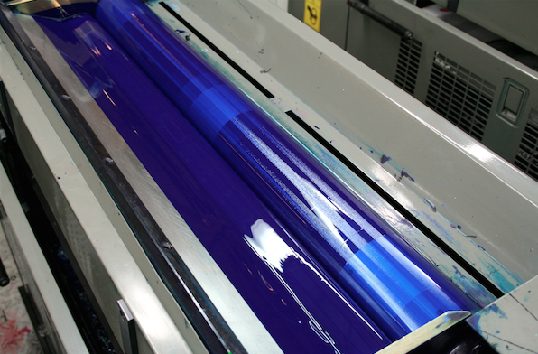 blue ink on press