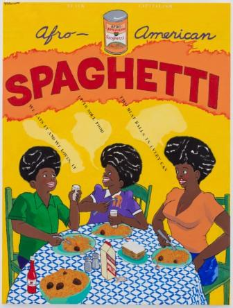 Black Capitalism: Afro American Spaghetti , 1971-1973  Acrylic on canvas, 77 3/4 x 59 x 1 5/8 inches             © Estate of Robert Colescott/Artists Rights Society (ARS), New York