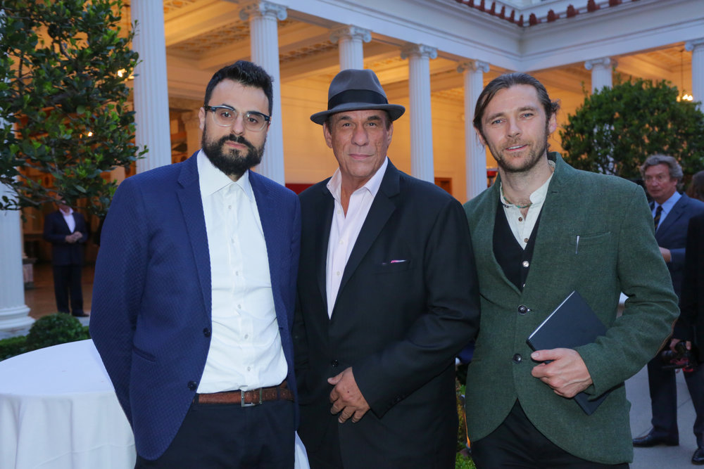 (left to right) Poet Gabriel Tinti with actors Robert Davi and Oscar Sharp. Photograph Rex Gelert