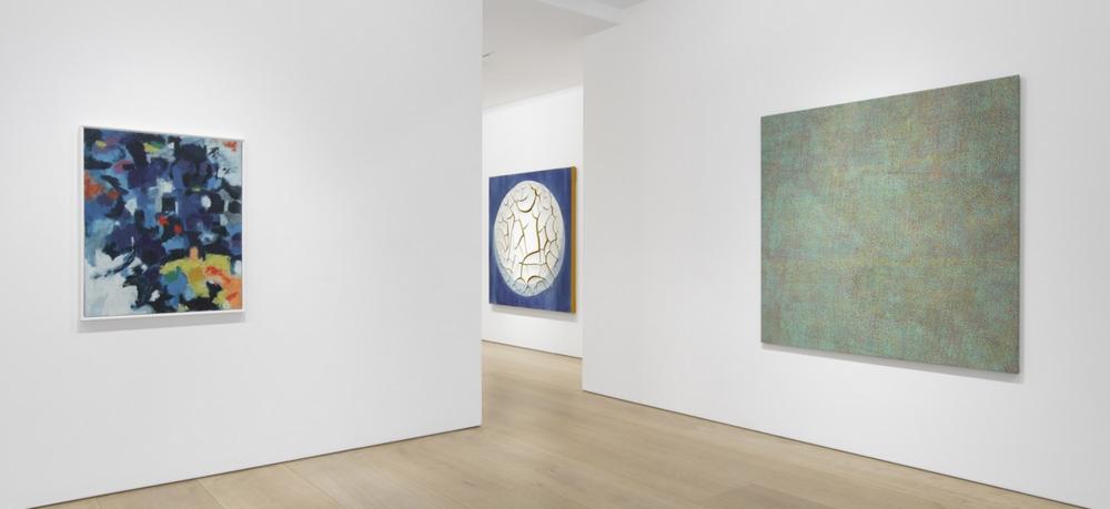 Installation view, Victoria Miro Mayfair. Left to right: Alma Thomas,  Untitled , 1961;Adriana Varejão, Azulejão (Moon) , 2018;Howardena Pindell, Untitled , 1971