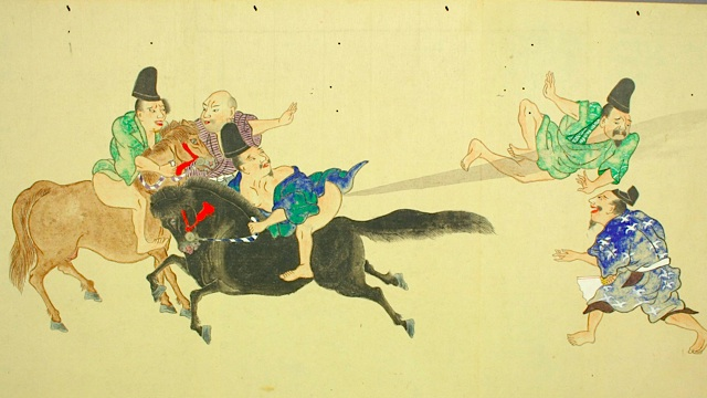 "A scene from ""He-Gassen, or ""The Fart War,"" from Japan's Edo period"
