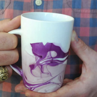 Watercolour Coffee Mugs - Using Nail Polish