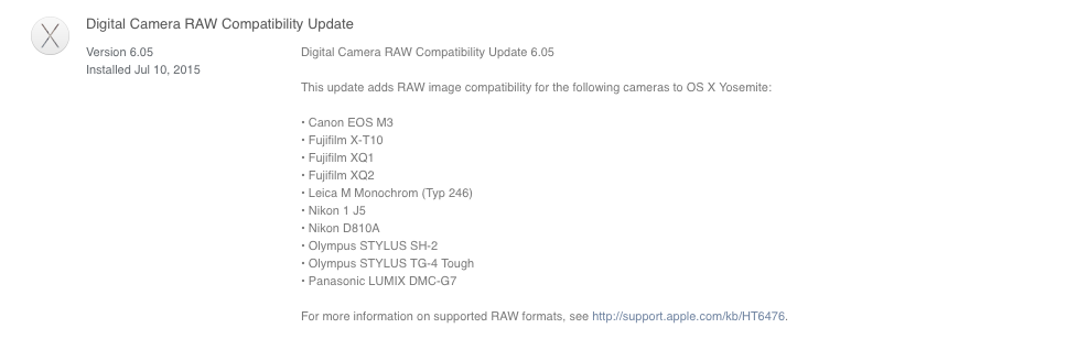 Digital Camera RAW Compatibility Update 6.05