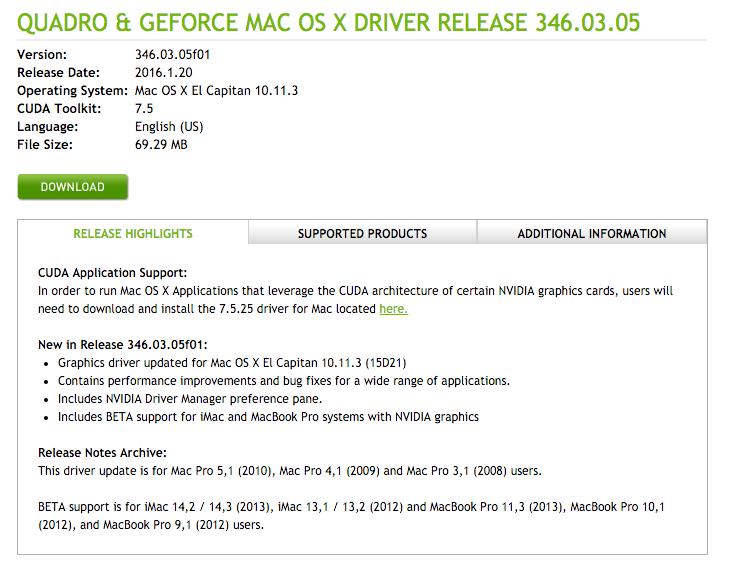 QUADRO & GEFORCE MAC OS X DRIVER RELEASE 346.03.05