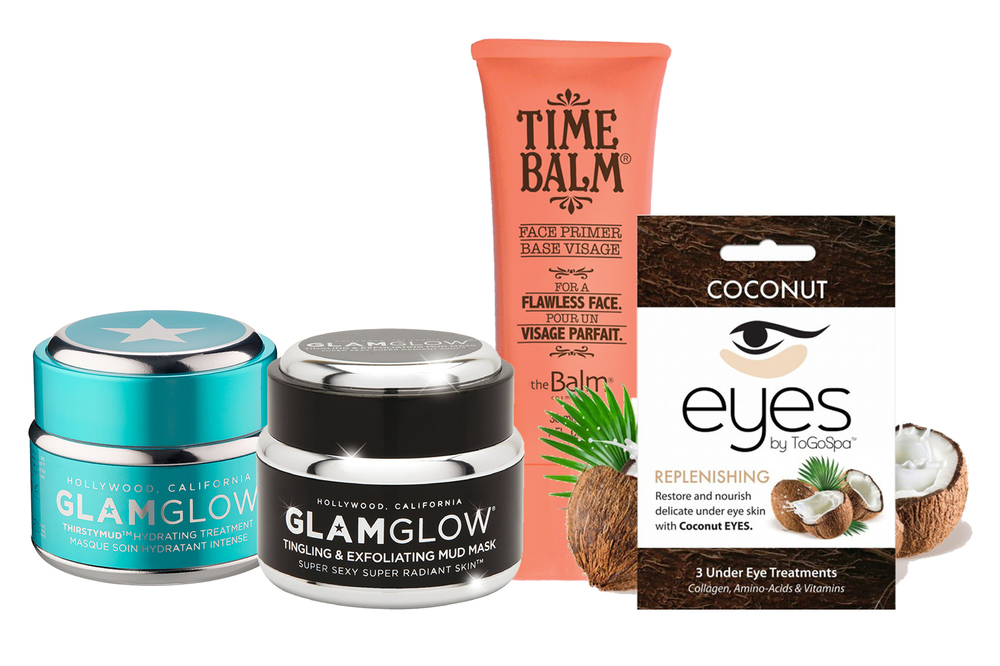 1. Glamglow Thirstymud Hydrating Treatment Kr 469,-    2. Glamglow Tingeling & Exfoliating Mud Mask Kr 449,-  3. The Balm TimeBalm Face Primer Kr 329,-  4. ToGoSpa Coconut Eyes Kr 149,-