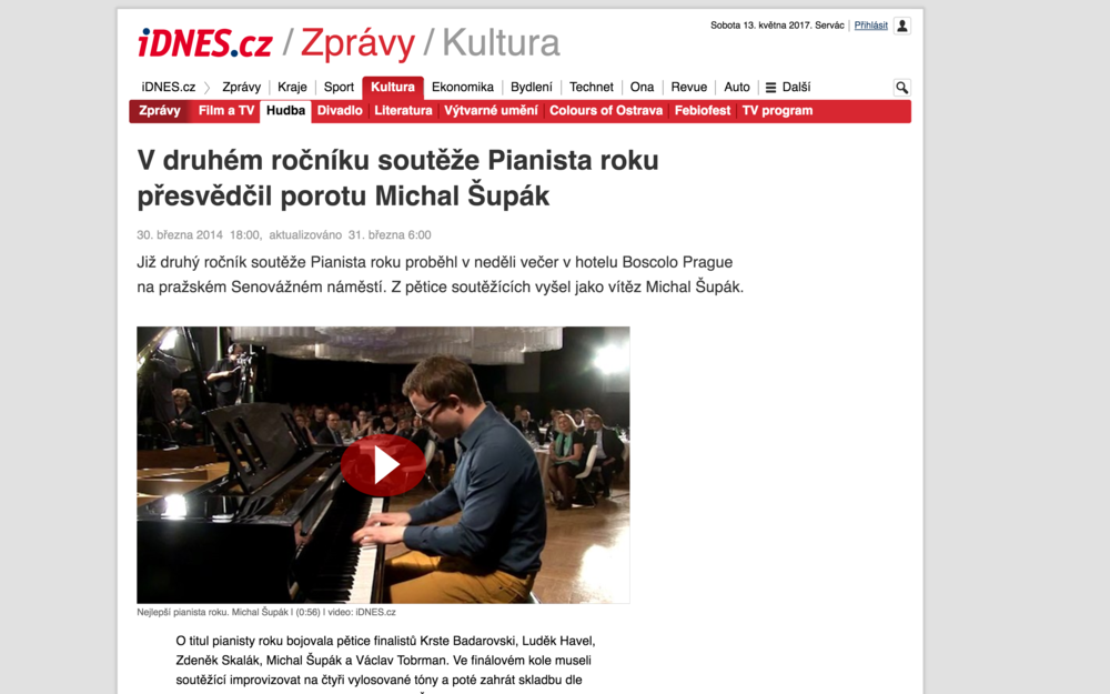 "idnes.cz   An article about ""The Pianist Of The Year"" competition win."