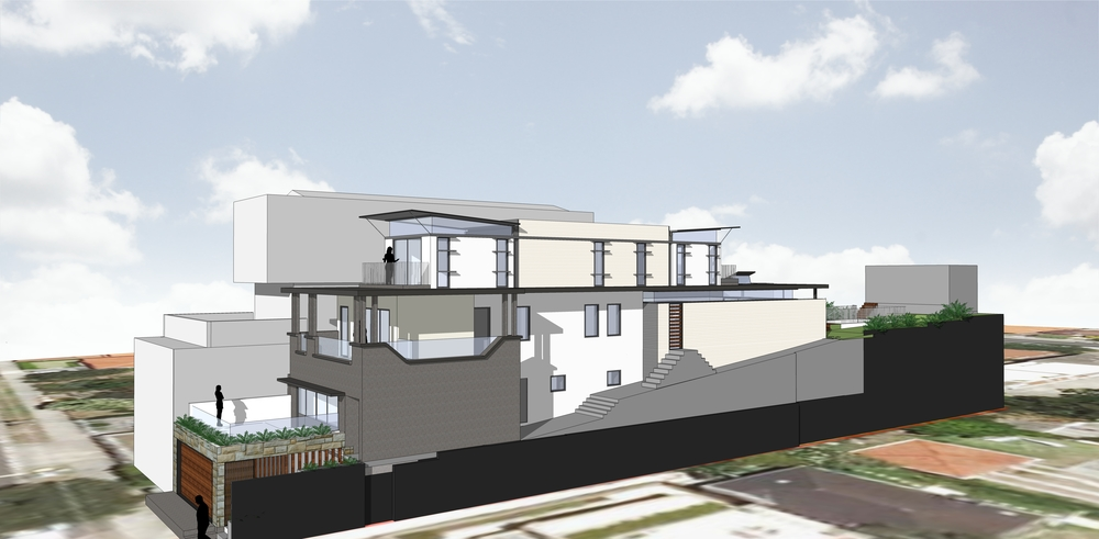 3d view from side of proposed alterations and additions.