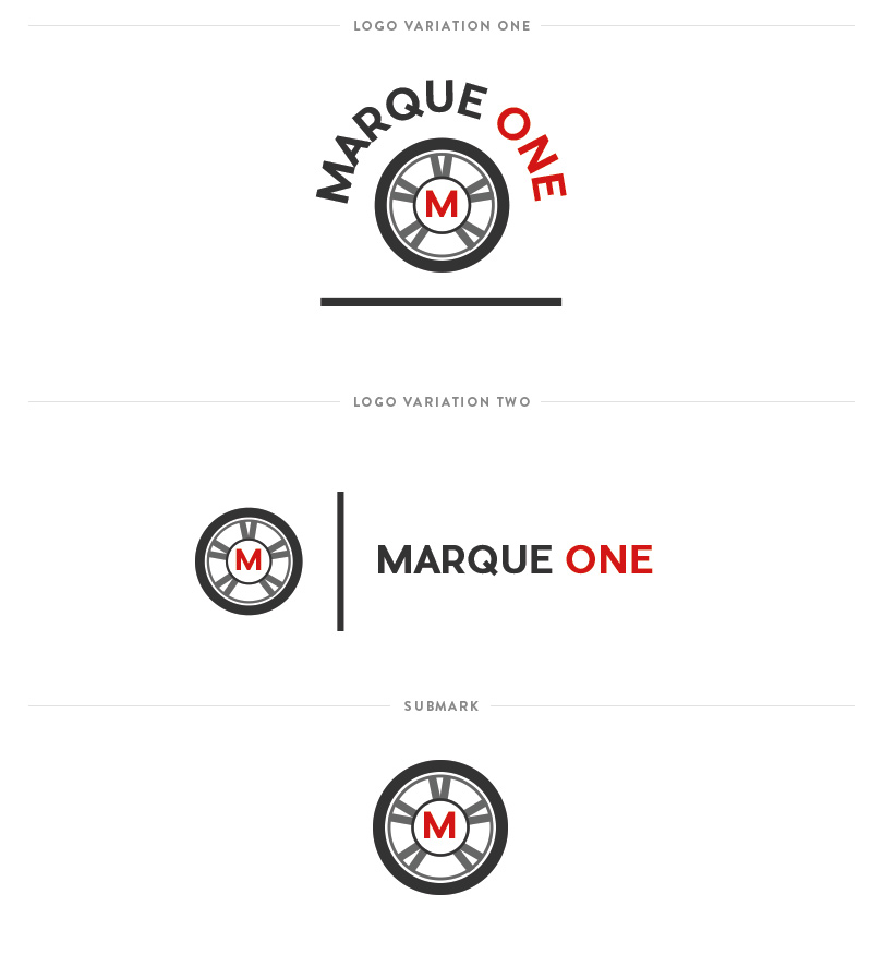 Marque One - Logo variations and submark