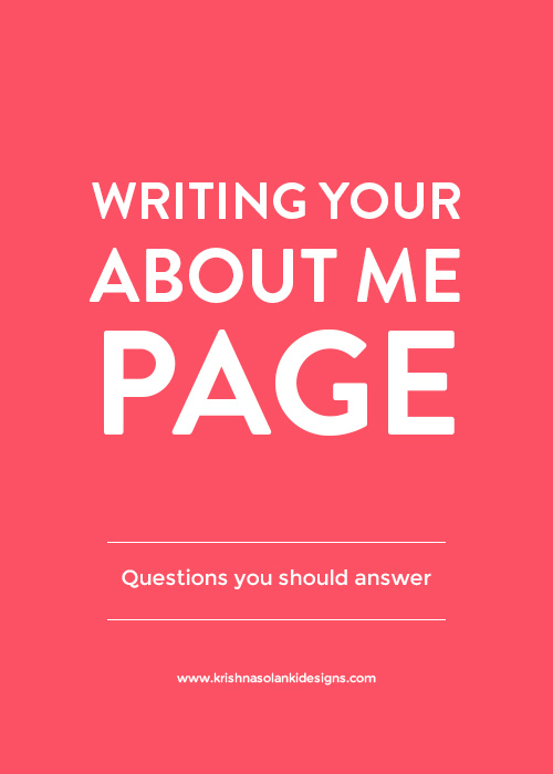 Writing You About Me Page - Questions You Should Answer
