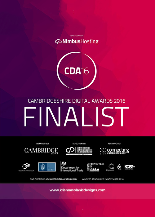 Krishna Solanki Designs - Finalist For Cambridgeshire Digital Awards 2016 - Marketing And Creative Category