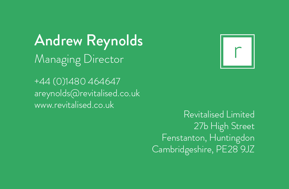 Krishna Solanki Designs - Revitalised - Business card (back)