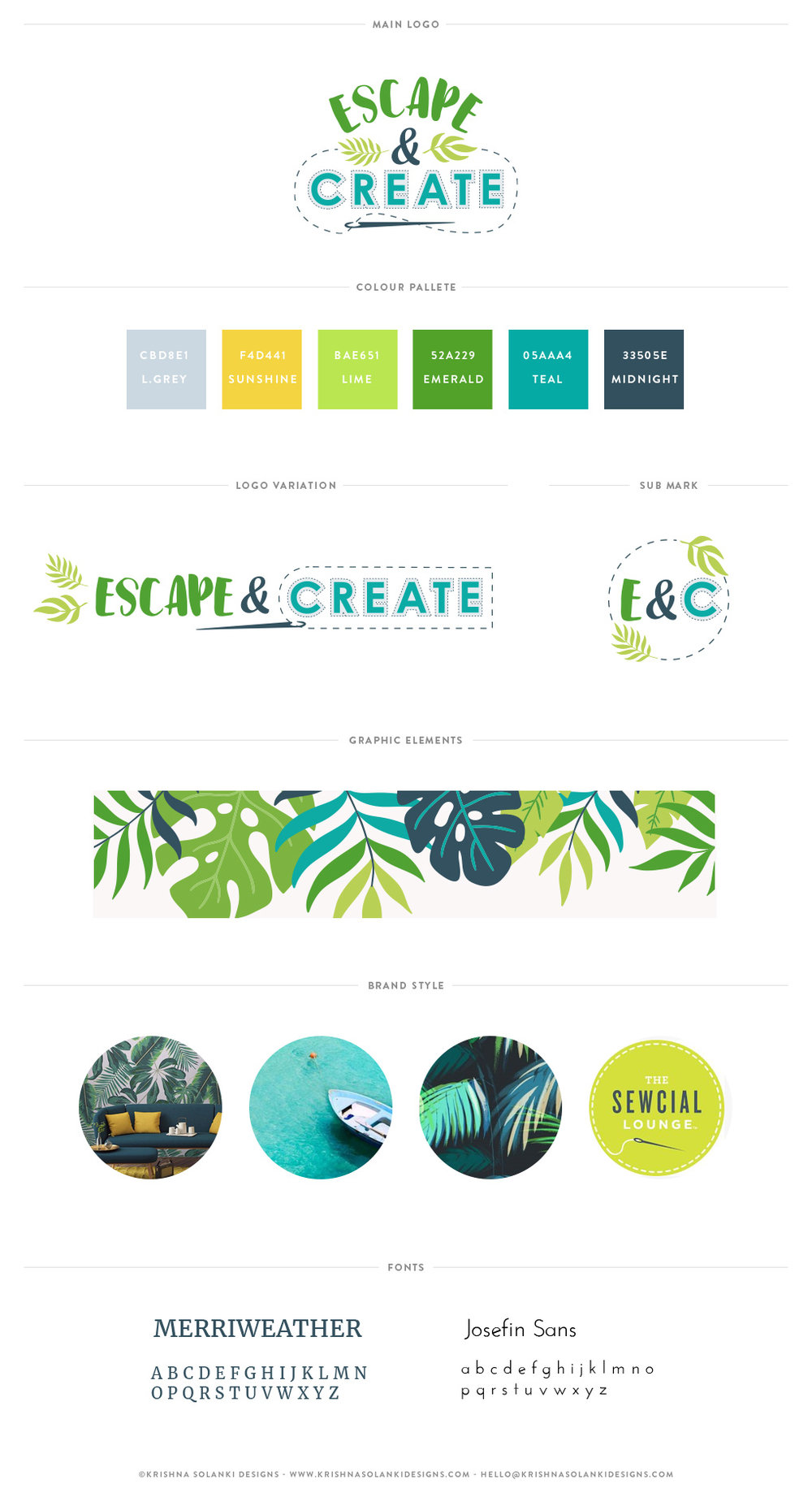 Krishna Solanki Designs - Escape & Create - Brand Board