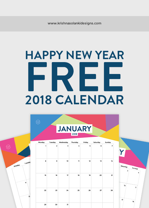 Krishna Solanki Designs - Happy New Year FREE  2018 Printable Calendar.jpg