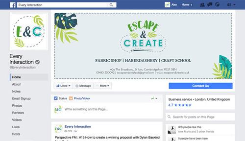 Escape & Create - Facebook cover and profile image
