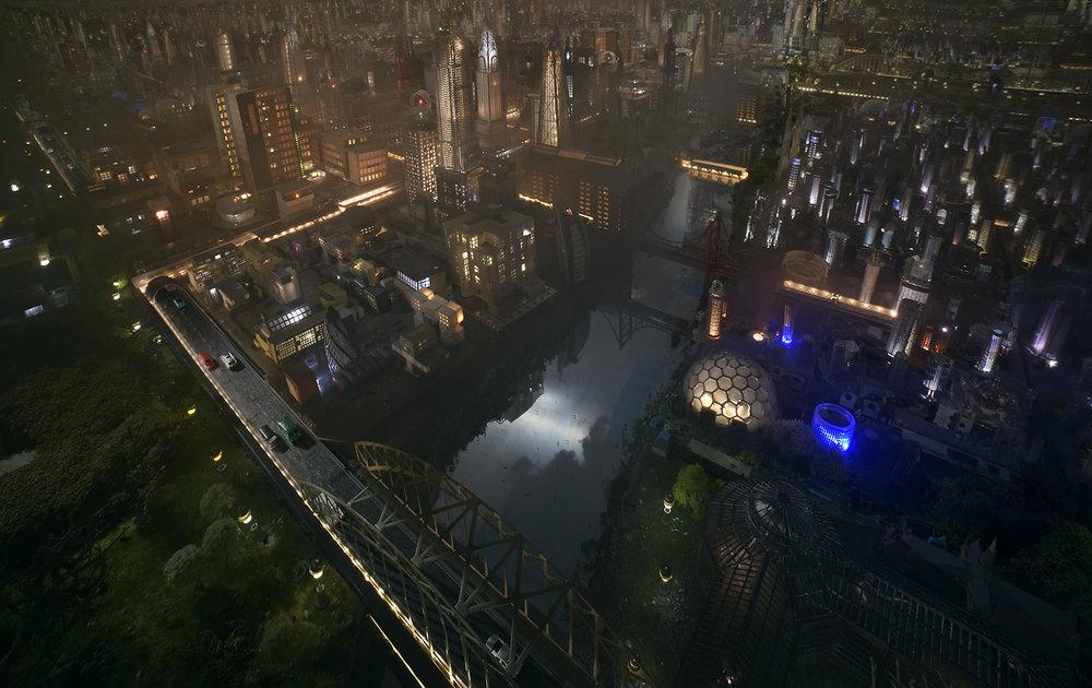 Led City at night
