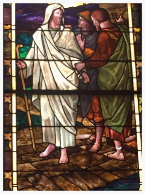 Tiffany Window in the nave of Calvary Episcopal church, depicting the Road to Emmaus.