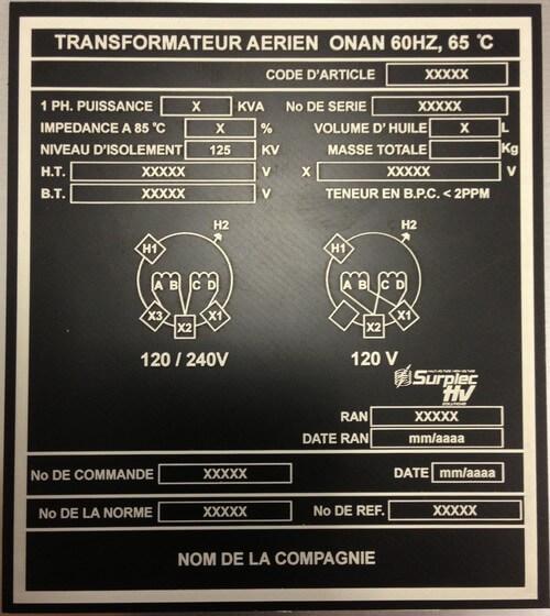 Plaque d'identification pour transformateur