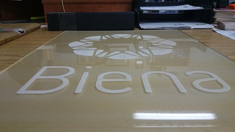 Grande plaque d'acrylique transparente. La couleur est dûe au papier protecter a l'arrière de cette derniere