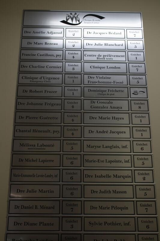 Panneau des noms et salles