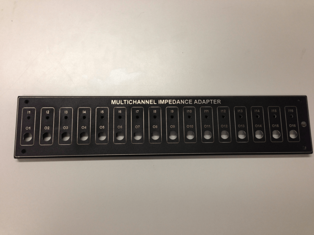 Laser engraved part that will be used in the production of a control panel by a local business.