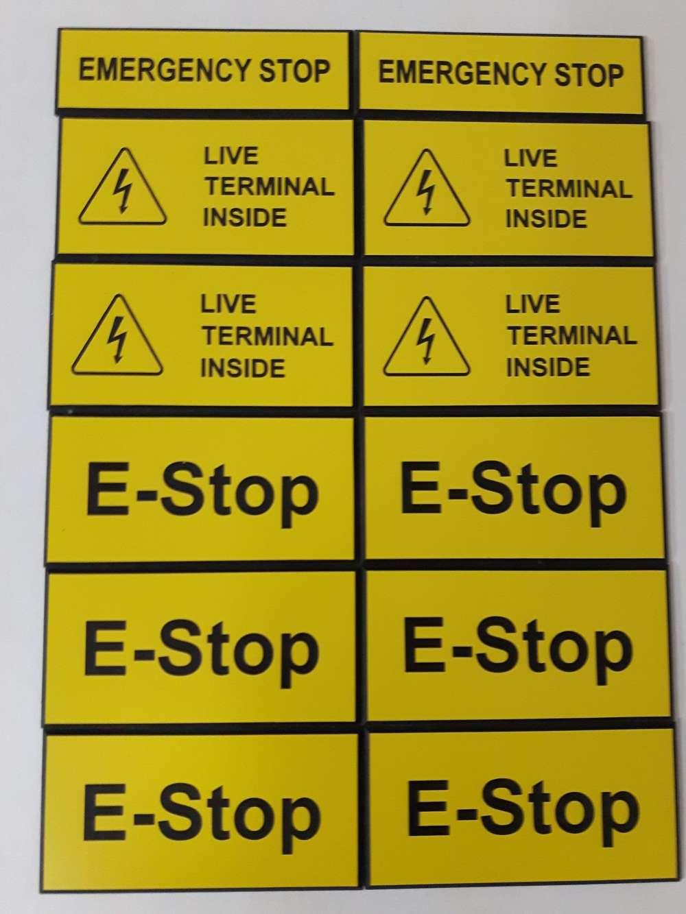 Plaques d'avertissements gravée au laser