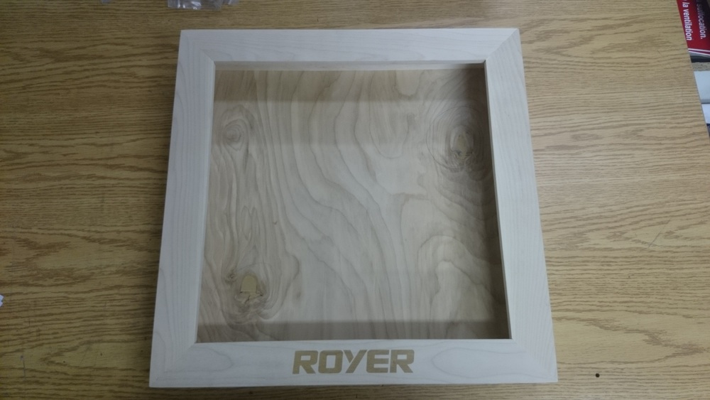 Wooden frame with logo